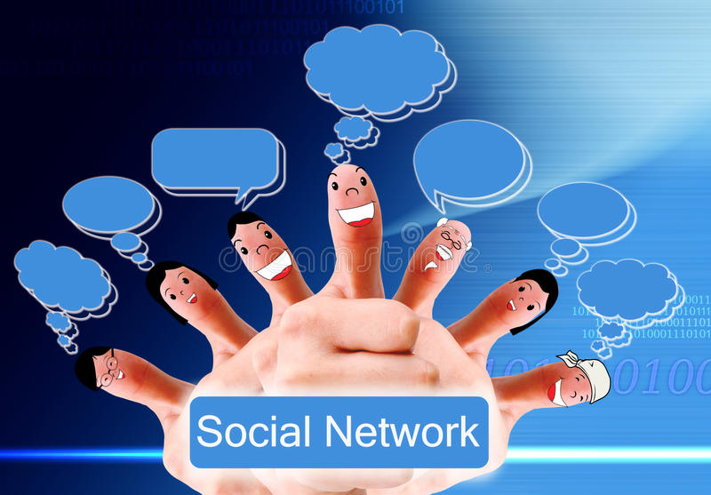 Download Group Of Finger Faces As Social Network Stock Image - Image of finger, girl: 20708515
