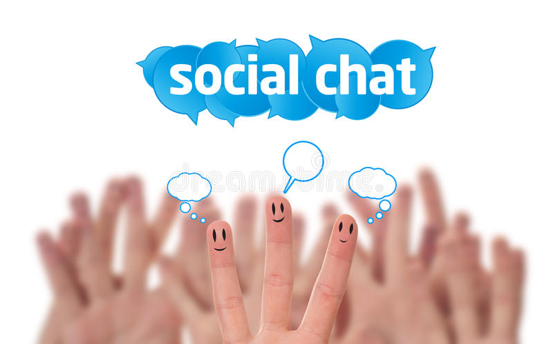 Download Group Of Finger Smileys With Social Chat Sig Stock Photo - Image: 20565030