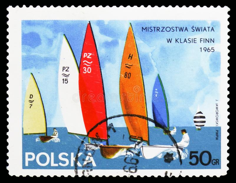 Group of Finn class, Yachts serie, circa 1965. MOSCOW, RUSSIA - OCTOBER 6, 2018: A stamp printed in Poland shows Group of Finn class, Yachts serie, circa 1965 royalty free stock images