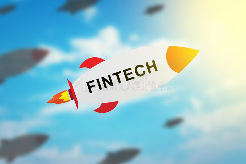 Group of fintech or financial technology flat design rocket royalty free stock image