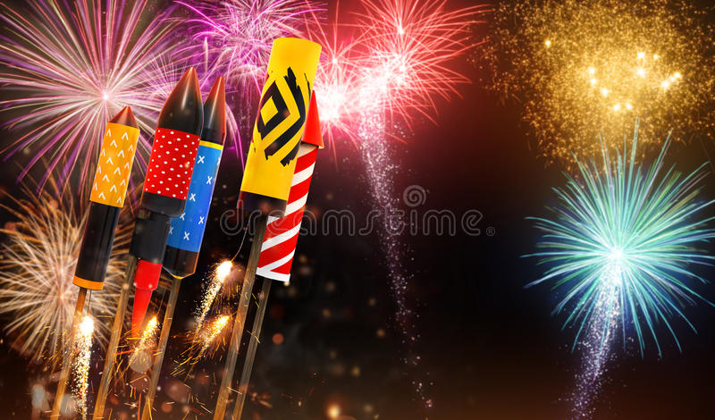 Group of fireworks rockets launching into the sky. Group view of fireworks rockets launching into the sky, free space for text. Concept of celebration and New royalty free illustration