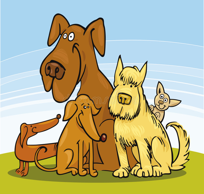 Group of five Dogs stock illustration