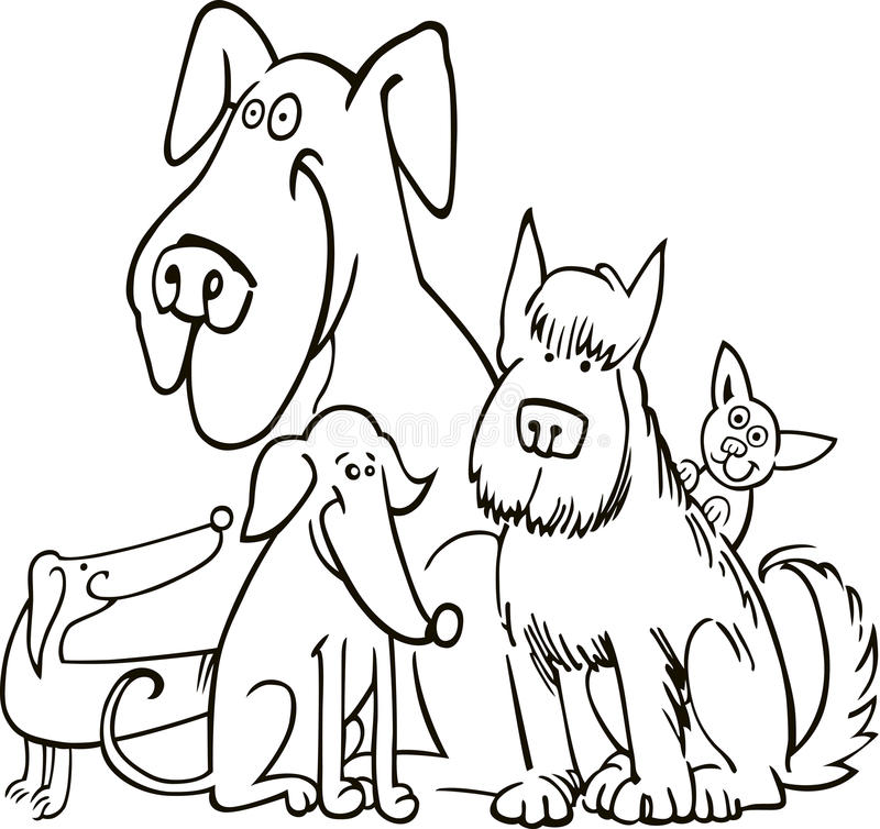 Group of five dogs for coloring vector illustration