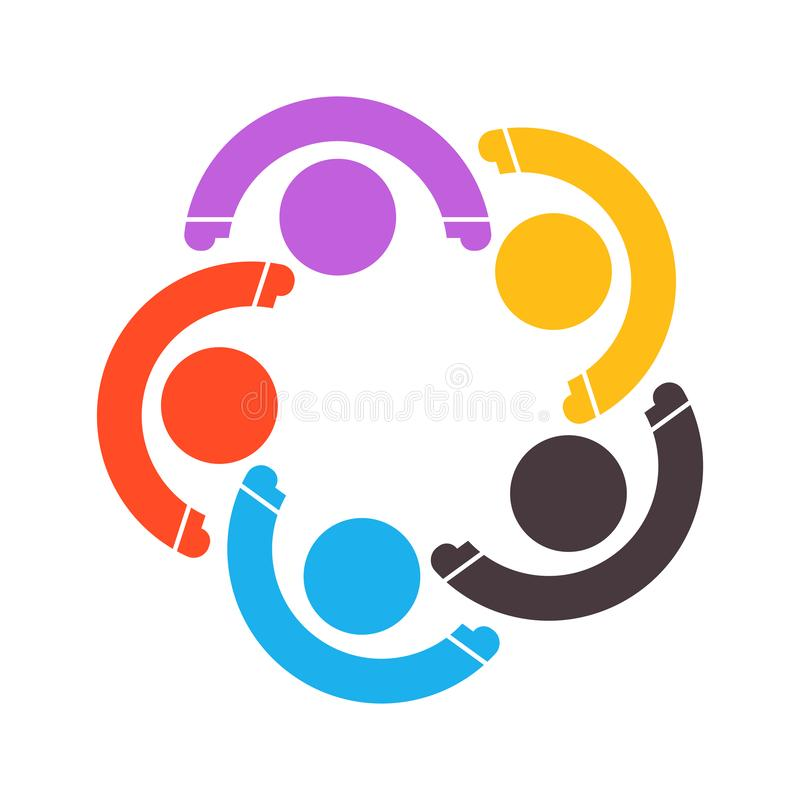 Group of five people in a circle.Teamwork meeting.people are meeting in the room.Powerful combined forces royalty free illustration