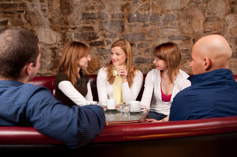 Group of five people having fun stock photos