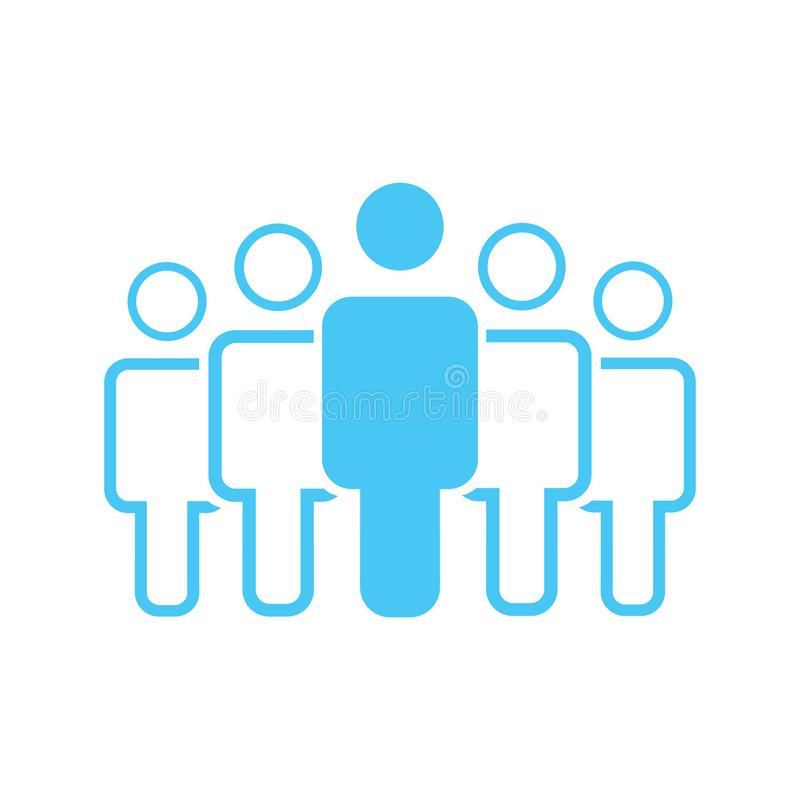 Group of five people or group of users standing flat vector icon for apps and websites. stock illustration