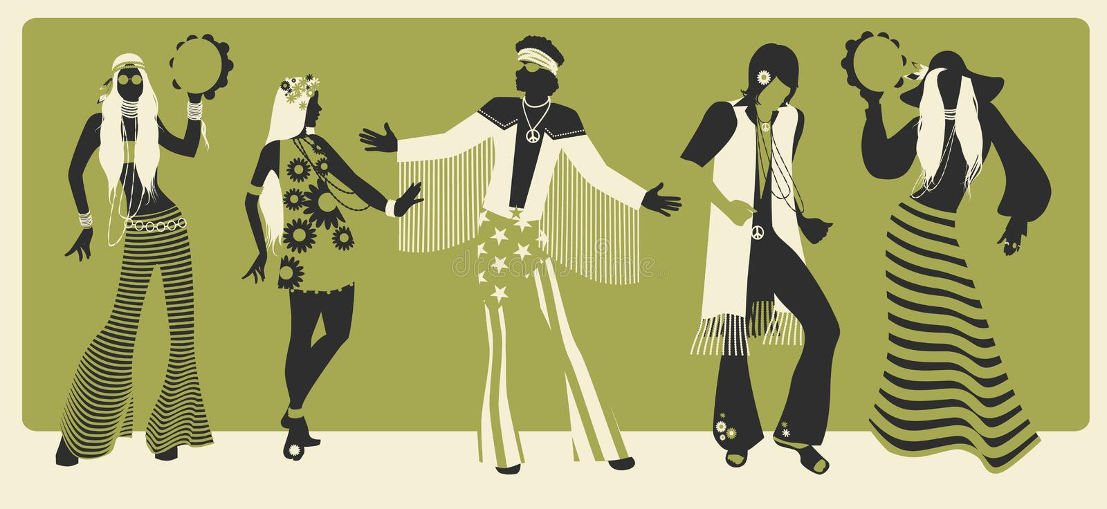 Group of five wearing hippie clothes of the 60s and 70s dancing. Vector illustration royalty free illustration