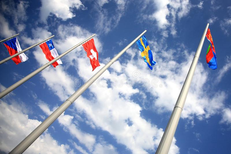 Group of flags. Of the different countries stock photo