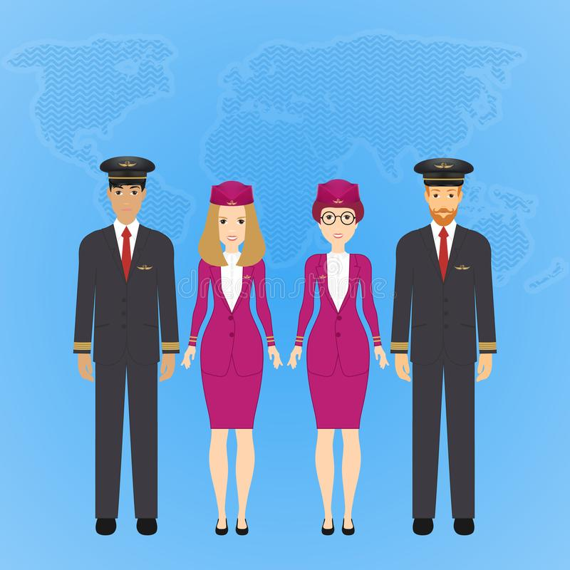 Group of flat cute cartoon people of aircraft characters in air uniform. Set of people aviation professions, pilot. Captain and airline staff. Vector royalty free illustration