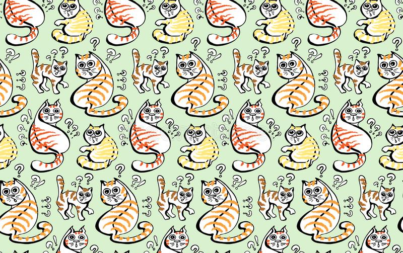 The group of fluffy red and orange striped cats is very surprised. royalty free illustration