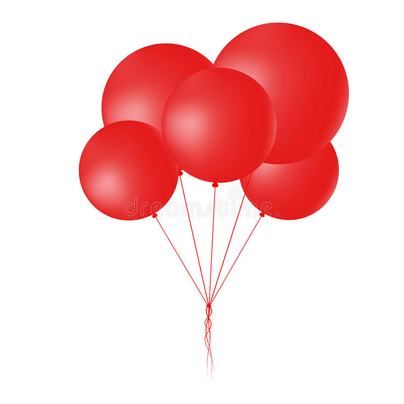 Group of flying round red balloons. Realistic design.Vector illustration royalty free illustration