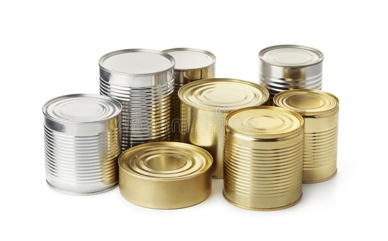 Group of food tin cans stock photography