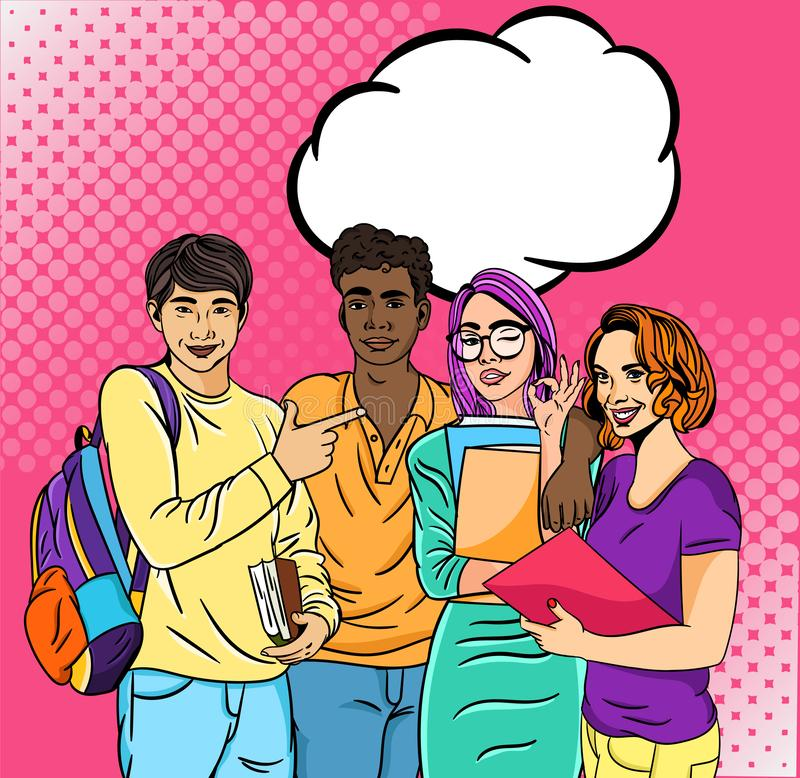 Group of four friends and cool students at the university with a blank speech stock illustration