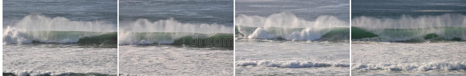 Group of four images of similar waves, horizontal. Group of four images of similar waves on a sunny day, horizontal royalty free stock image