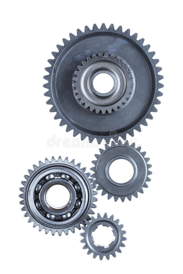 Four Connected Metal Engine Gears royalty free stock photos