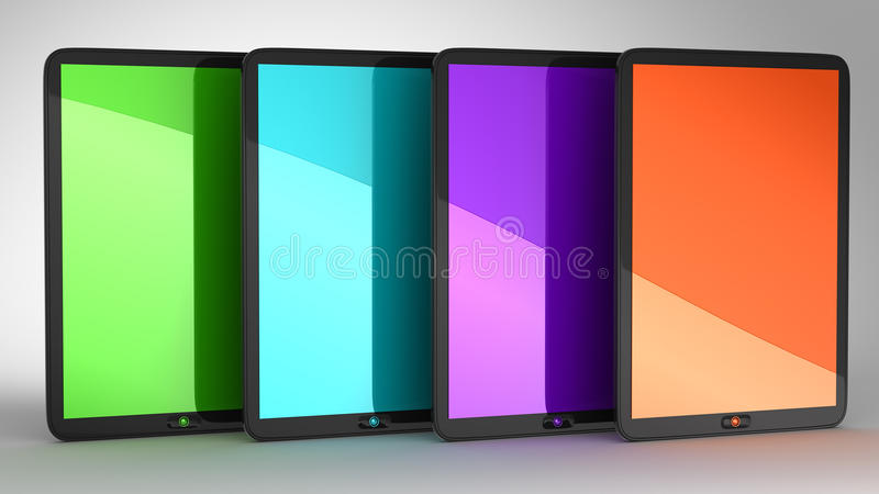 Download Group Of Four Tablets PCs With Colored Displays Stock Illustration - Illustration: 15731132
