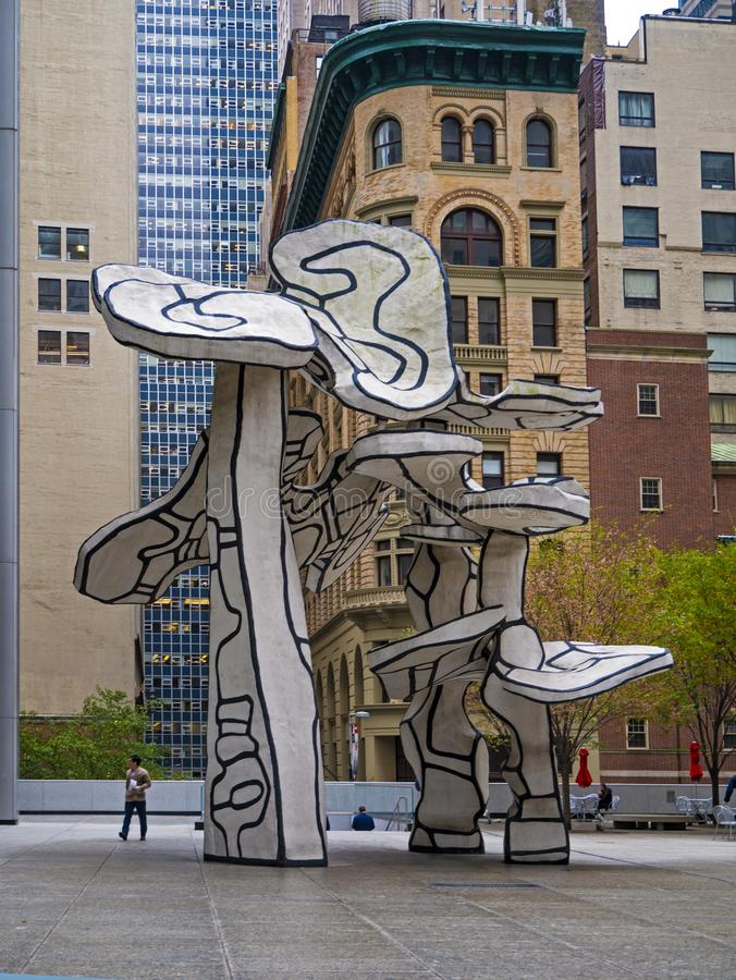 Group of Four Trees by Artist Jean Dubuffet. The Chase Manhattan Bank Plaza,  New York, USA. royalty free stock photos