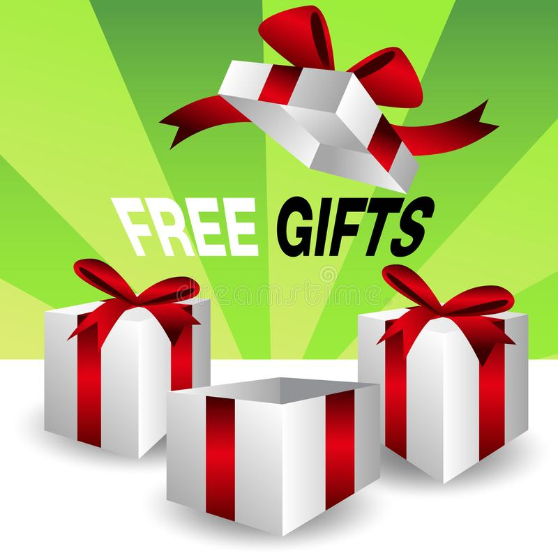 Group of Free Gift Boxes vector illustration