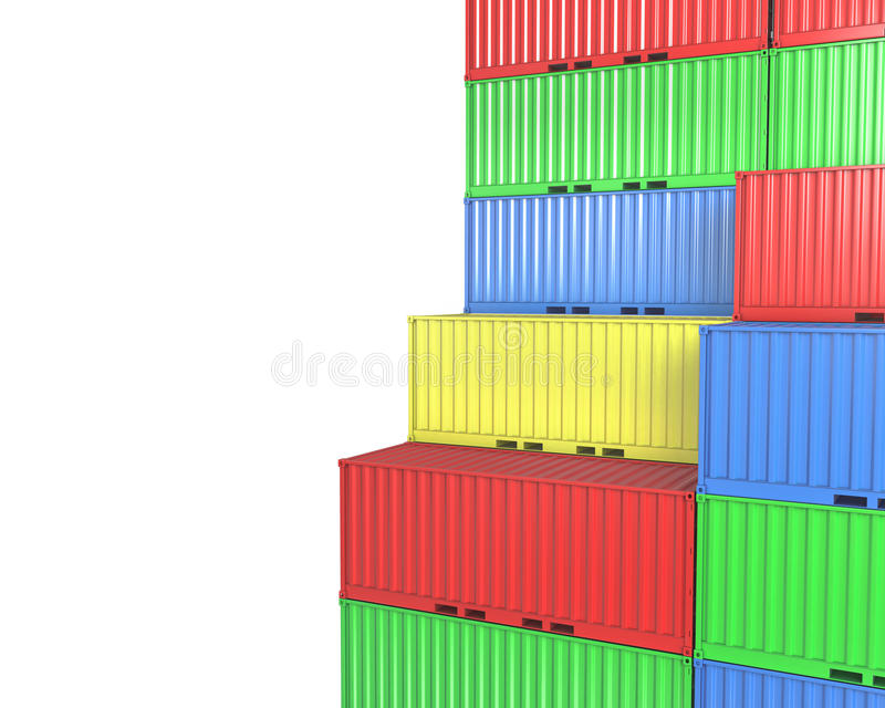 Download Group Of Freight Containers, With Blanks Space Stock Illustration - Image: 23580970