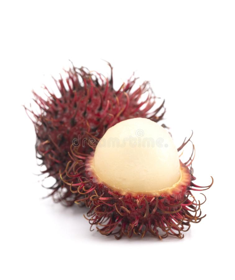 Group of Fresh Red Rambutan Isolated on a White Background stock photos