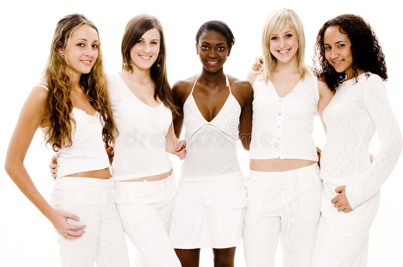 Group Friends. A group of five pretty young women in white on white