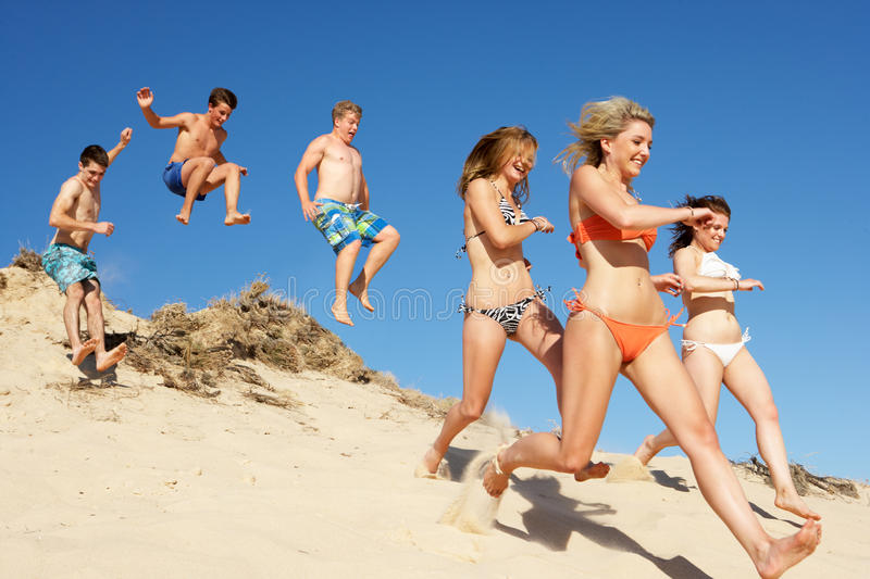 Download Group Of Friends On Beach Holiday Stock Image - Image: 26614099