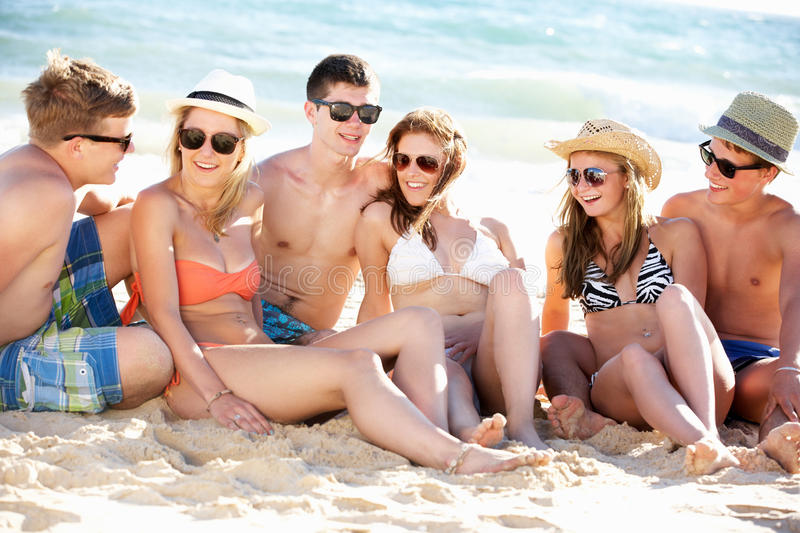 Download Group Of Friends On Beach Holiday Stock Photo - Image: 26614112