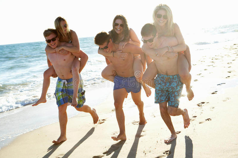 Download Group Of Friends On Beach Holiday Stock Photo - Image of laughing, sand: 26614148