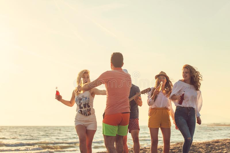 Group of friends play on the beach stock photography