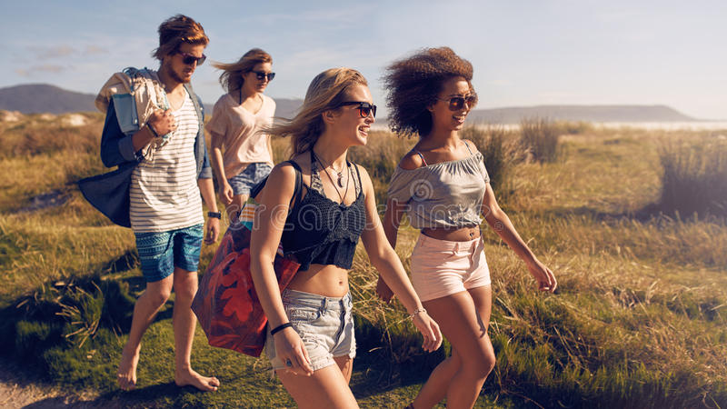 Group of friends on beach vacation royalty free stock photography