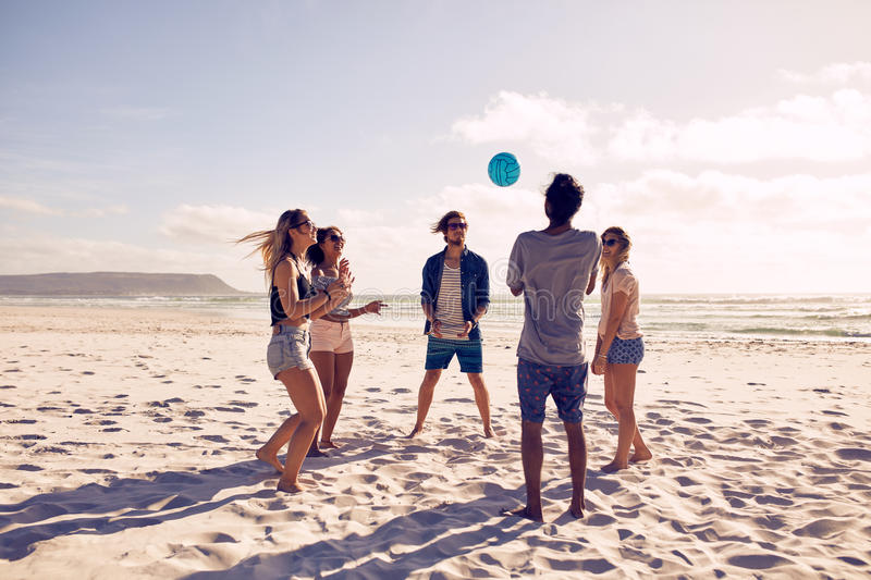 Download Group Of Friends On Beach Vacation Stock Photo