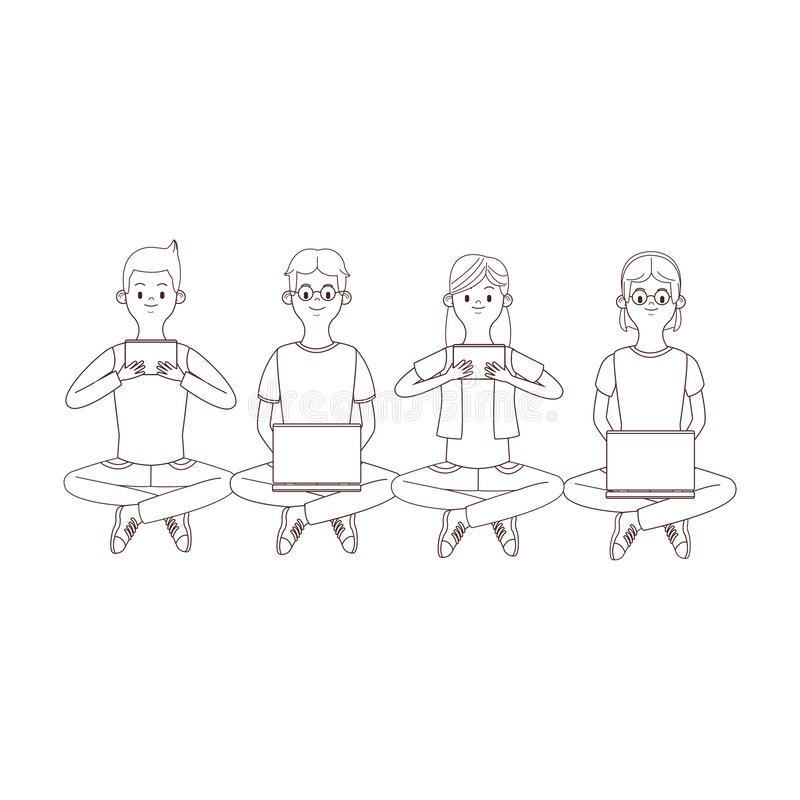 Group of friends cartoon. Group of friends in lotus position using technology devices cartoon vector illustration graphic design stock illustration