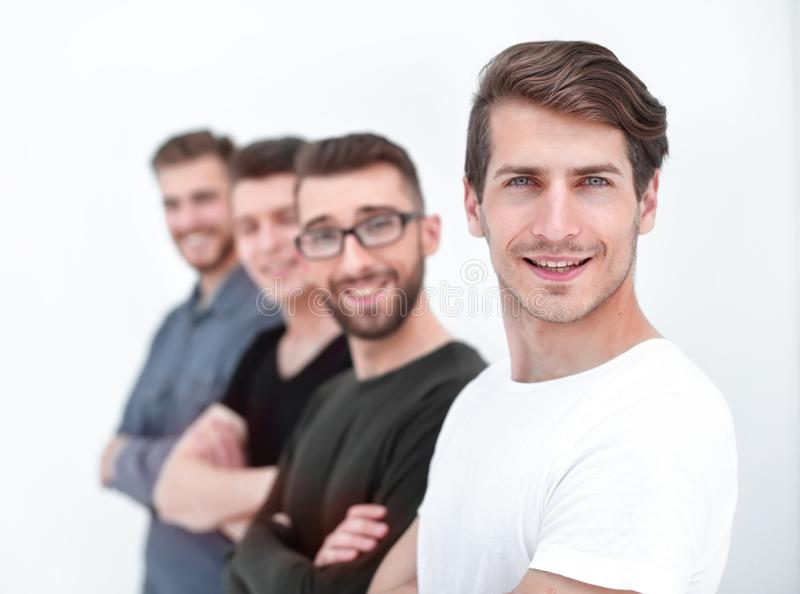 Group of friends in casual clothes, side view stock photo
