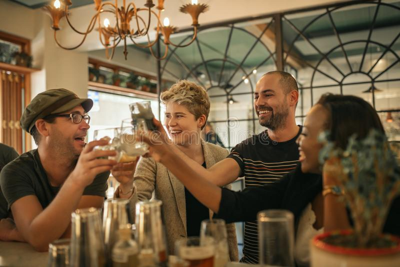 Group of friends cheering with drinks in a trendy bar. Diverse group of young friends laughing and toasting with drinks while hanging out together in a trendy royalty free stock photo