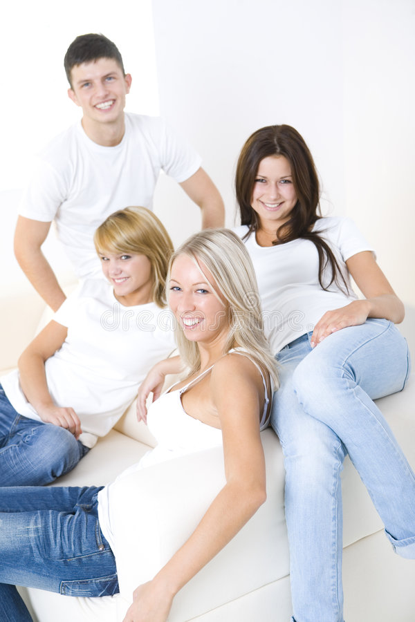 Download Group Of Friends On A Couch Stock Image - Image: 6448803
