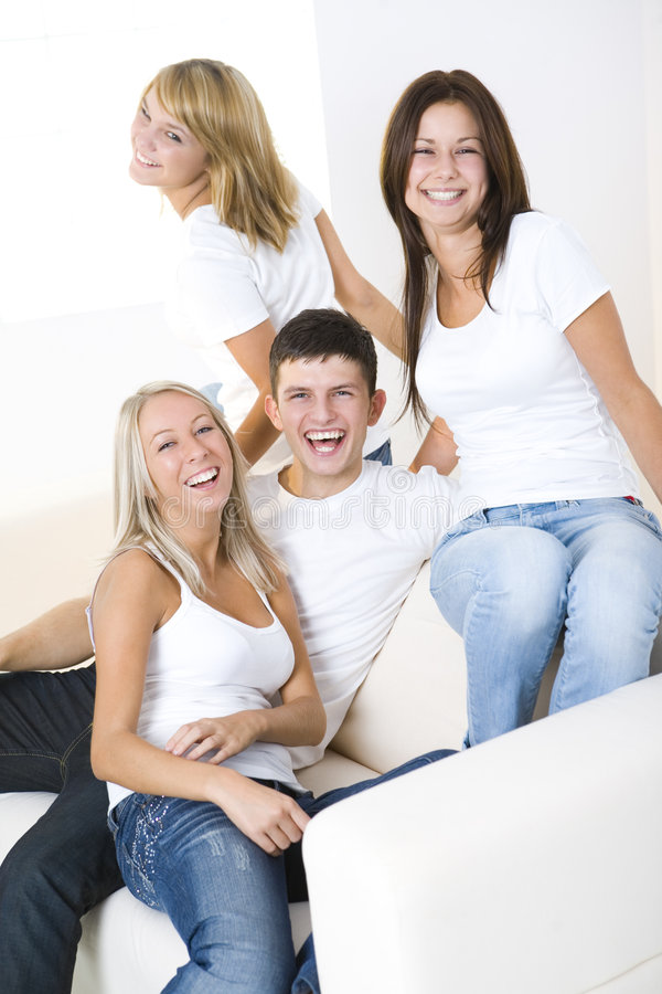 Group of friends on a couch royalty free stock photography
