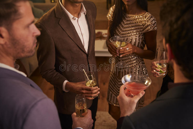 Download Group Of Friends With Drinks Enjoying Cocktail Party Stock Photo - Image: 91320992