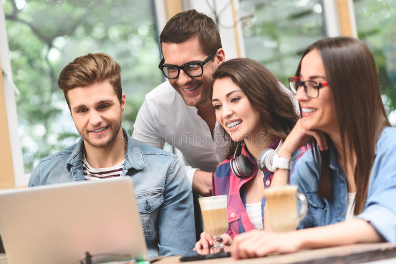 Group of friends enjoying fun moment stock images