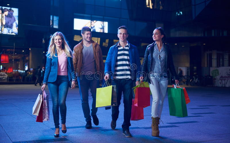 Group Of Friends Enjoying Shopping royalty free stock image