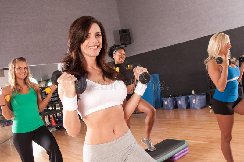 Group of friends in a fitness class royalty free stock photo