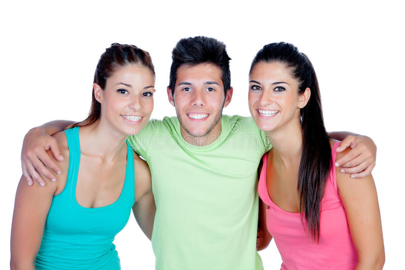 Group of friends with fitness clothes. Isolated on a white background stock photo