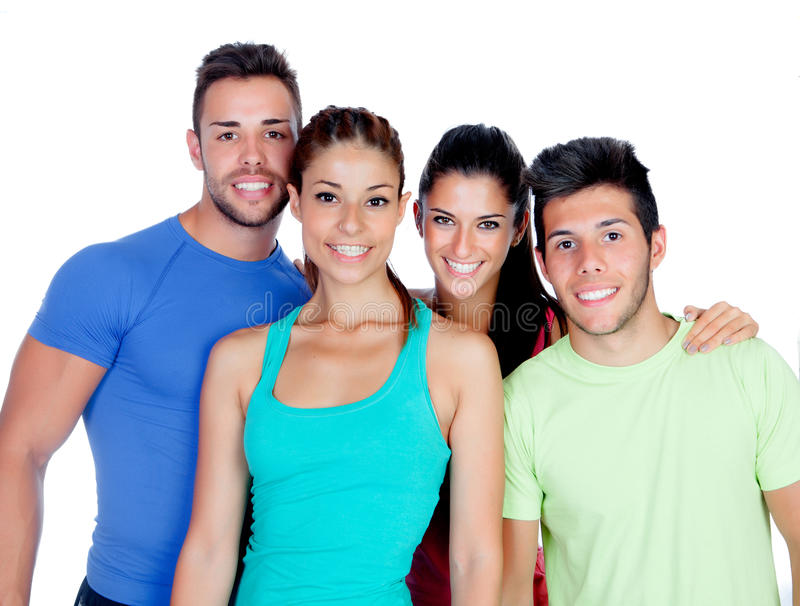 Group of friends with fitness clothes. Isolated on a white background stock image