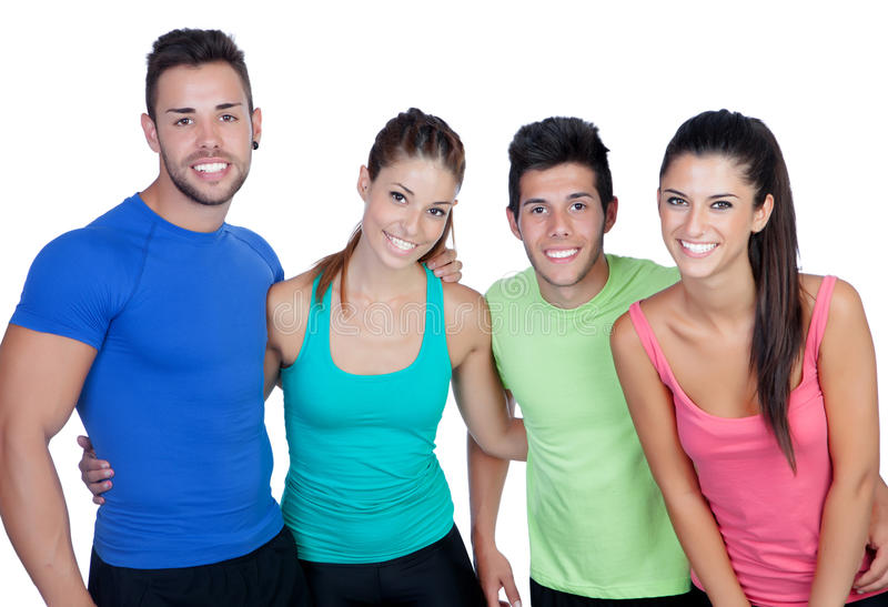 Group of friends with fitness clothes. Isolated on a white background royalty free stock image