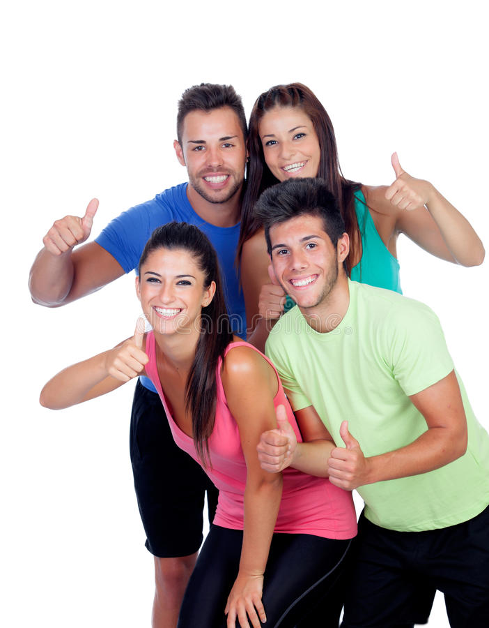 Group of friends with fitness clothes saying Ok. Isolated on a white background royalty free stock images