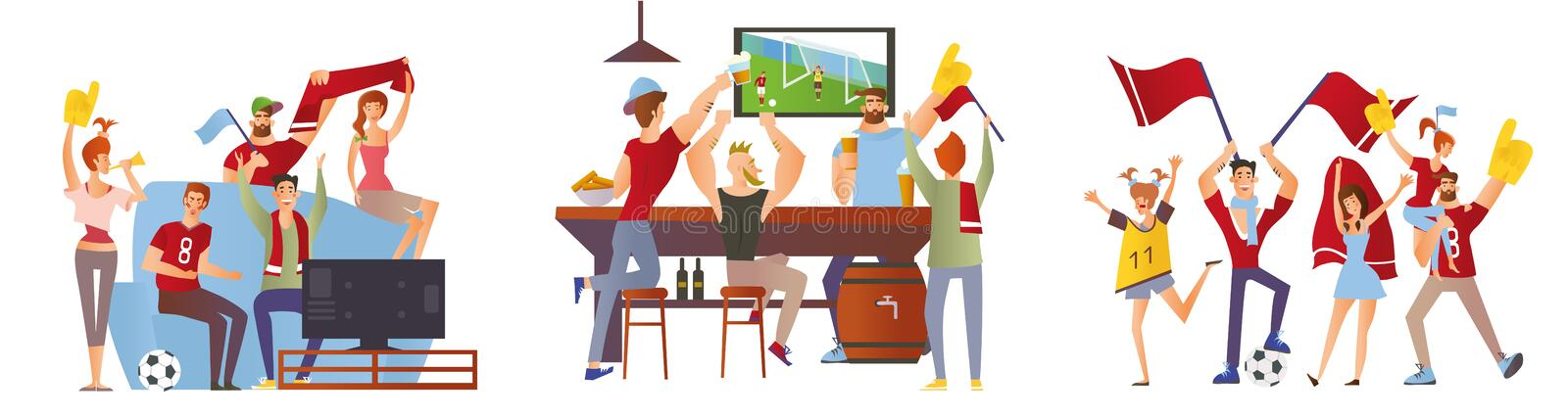 A group of friends, football fans cheering for their favourite football team. Men and women watch soccer at the stadium stock illustration