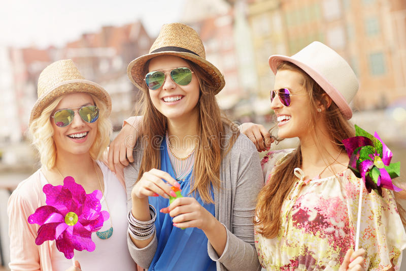 Group of friends hanging out in the city stock photos