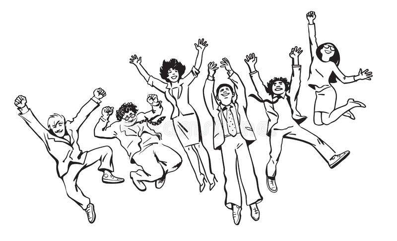 Group of friends have fun, jump, dance and fool around. Hand drawn vector illustration in sketch style. stock illustration