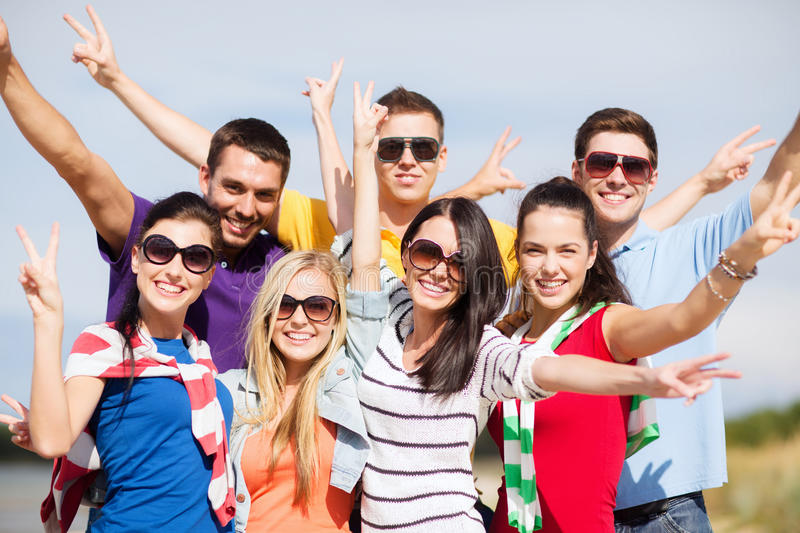 Download Group Of Friends Having Fun On The Beach Stock Photo - Image: 34394694