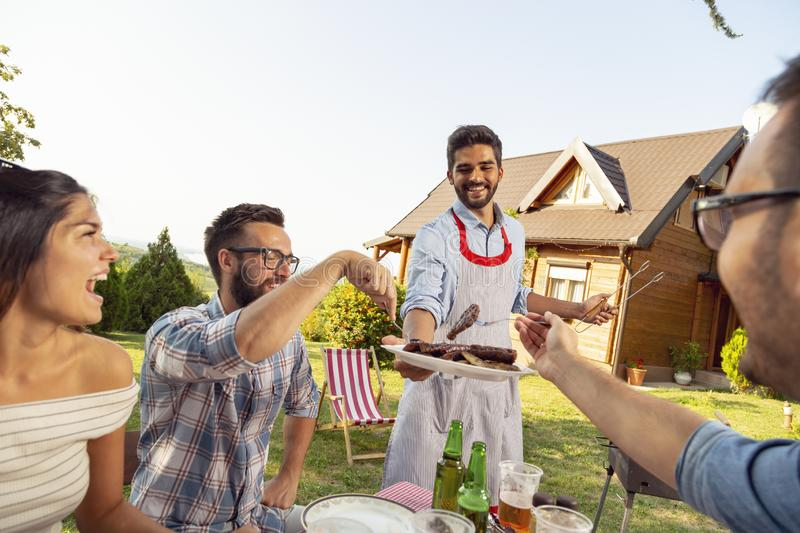 Summertime backyard barbecue party. Group of friends having an outdoor barbecue lunch, eating grilled meat, drinking beer and having fun stock image