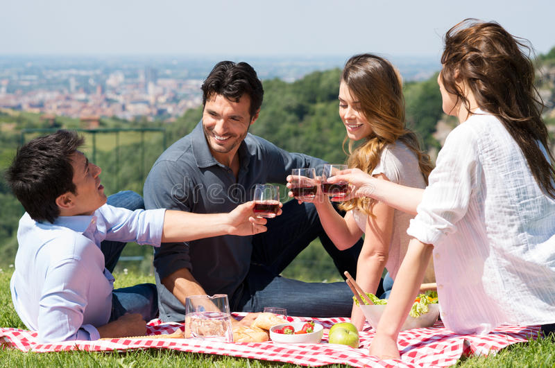 Group Of Friends Having A Picnic stock image